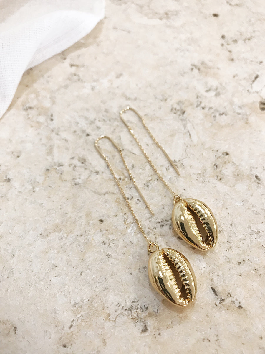 Noelle Cowrie Thread Earrings Gold