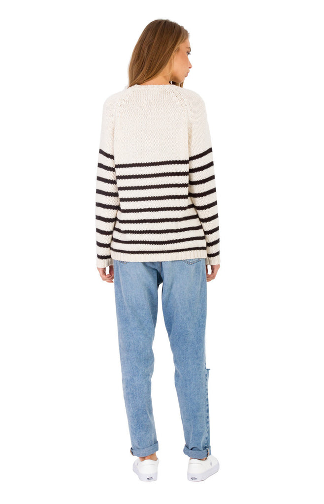 The Bare Road Knit Crew Jumper B&W Stripe - Call Me The Breeze - 4