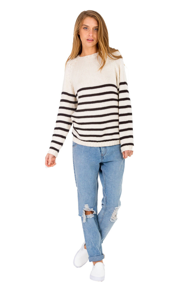 The Bare Road Knit Crew Jumper B&W Stripe - Call Me The Breeze - 3