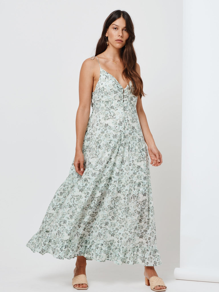 Kivari Valley Floral Maxi Dress Emerald Floral