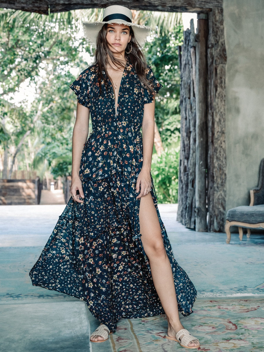 Kivari Baily Floral Maxi Dress Black
