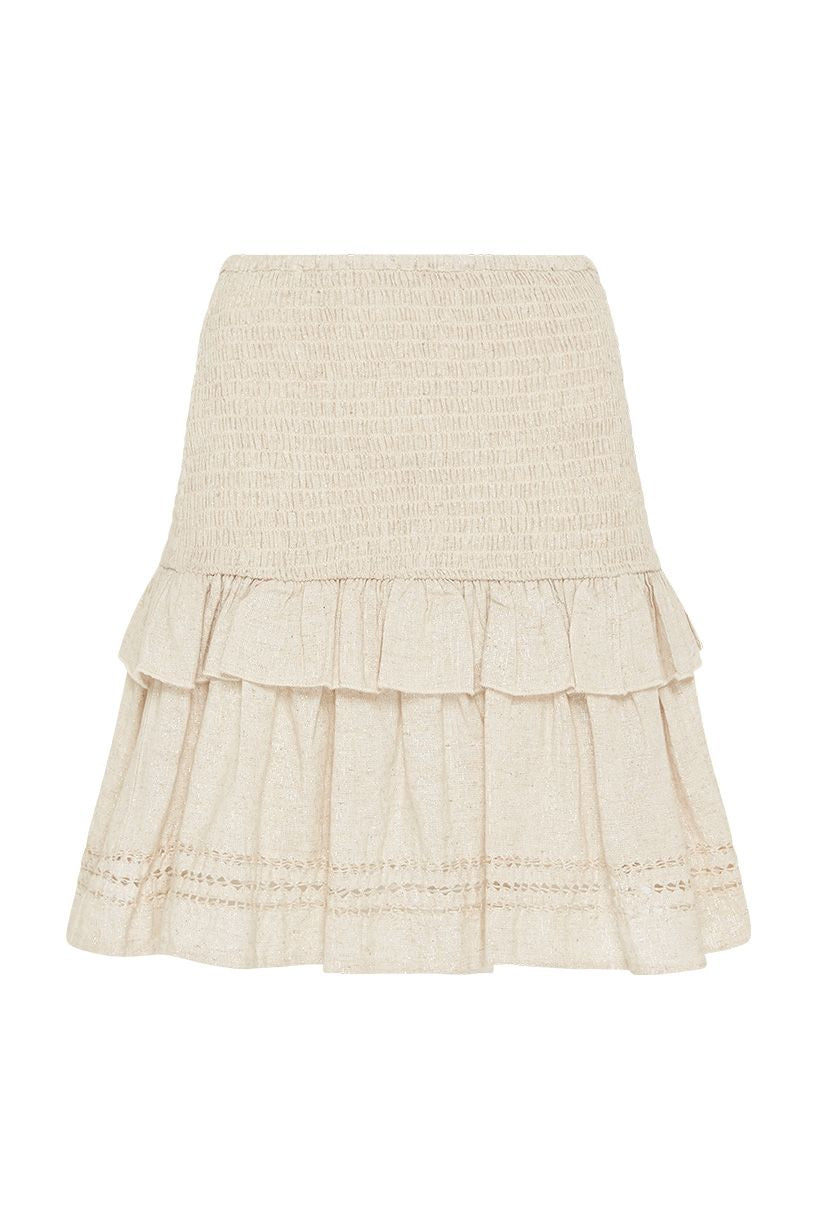 Spell Lola Ruched Mini Skirt Biscuit