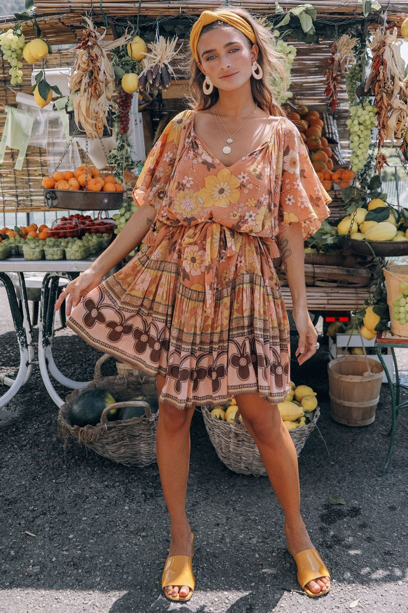 Spell Buttercup Mini Dress Sunrise