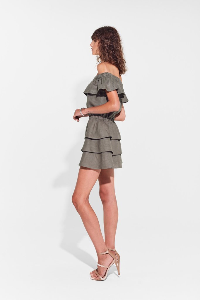 Sir Stefi Off Shoulder Mini Dress Olive