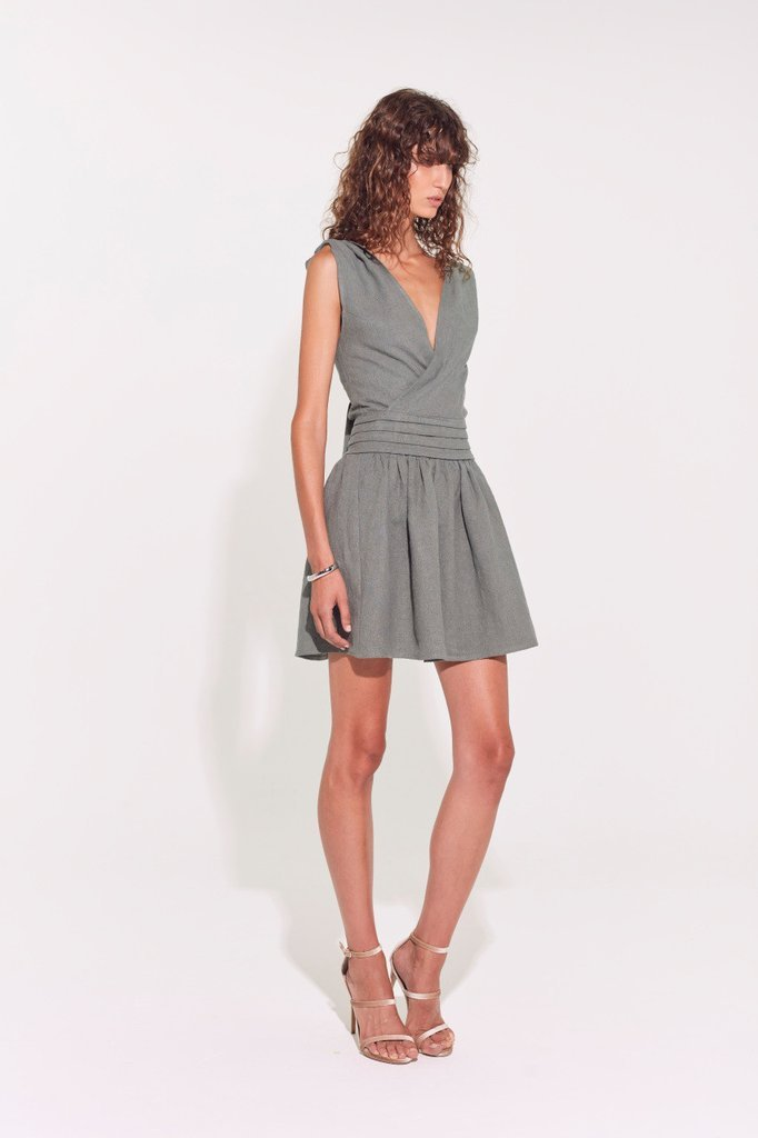 Sir The Label Stefi Knotted Mini Dress Olive