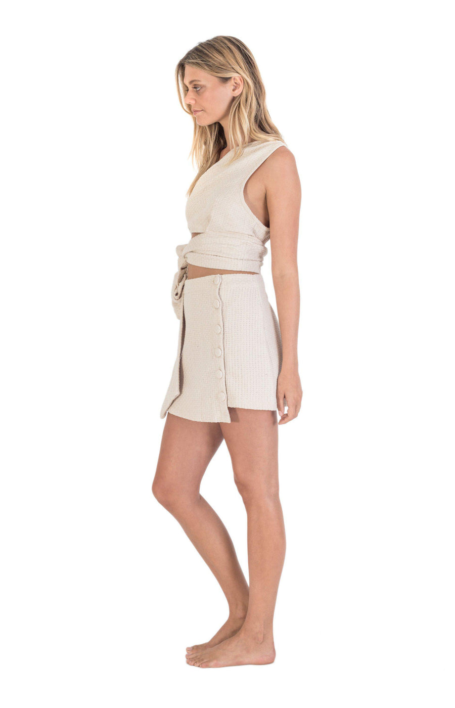 The Bare Road Wild One Shoulder Top Natural Beige