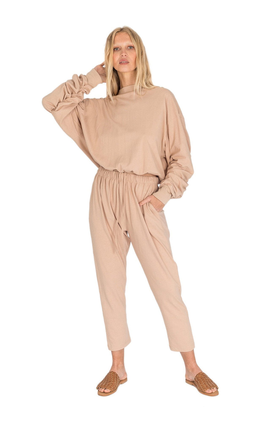 The Bare Road Zoe Hemp Slouch Pant Desert Beige