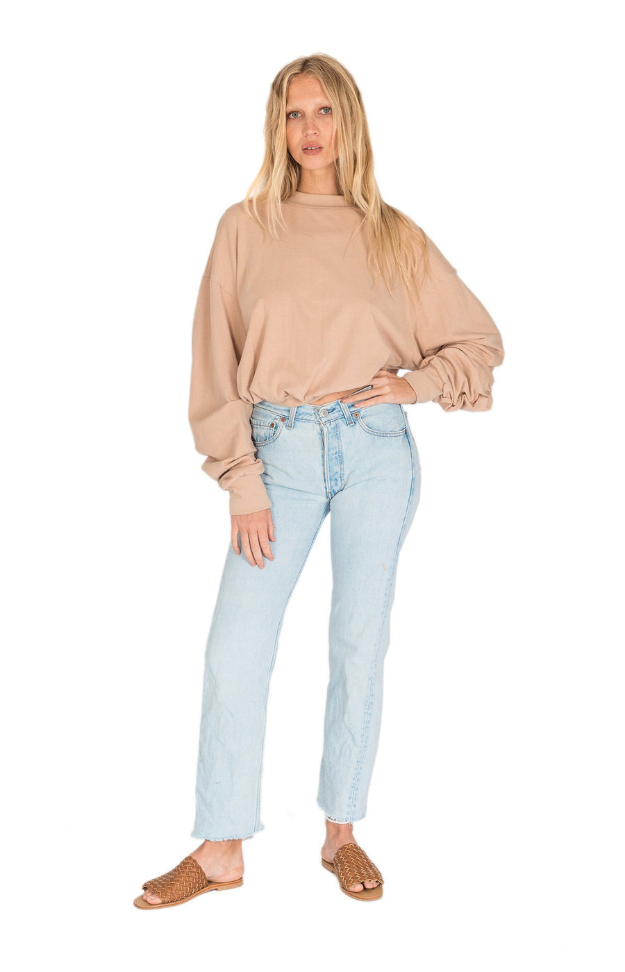 The Bare Road Zoe Hemp Slouch Sweater Desert Beige