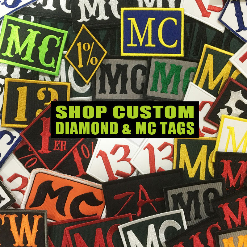Custom Made MC 1% & 13 Diamond Embroidered Patches / Badges