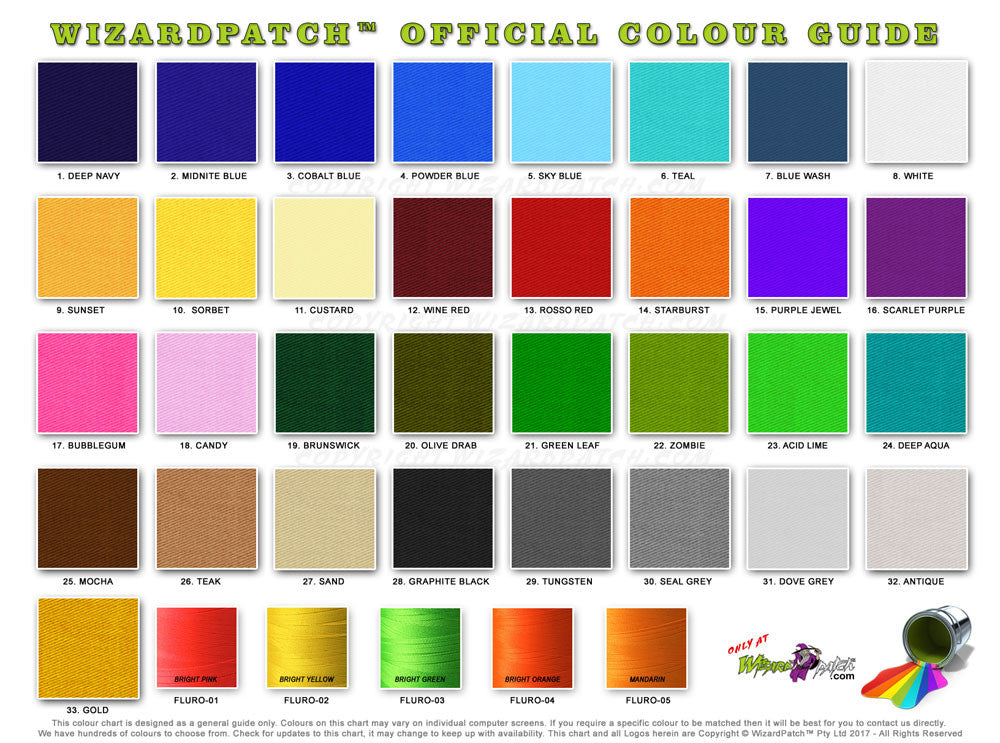 NEW Wizard Patch material thread colour chart for custom australian made embroidered biker vest high quality patches