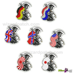 wizard patch bikers reapers with flag country patriot embroidered badges and patches for your club vest logo design