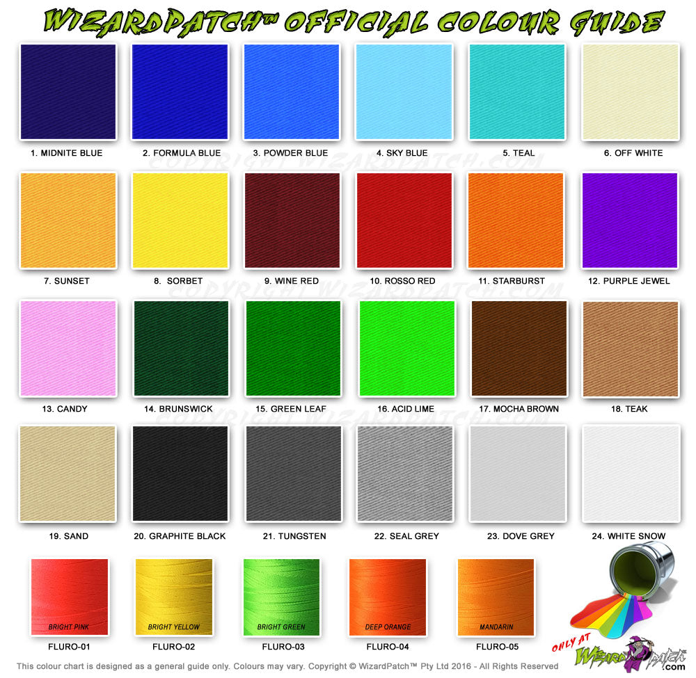 wizard patch material thread color chart for embroidered biker vest patches new