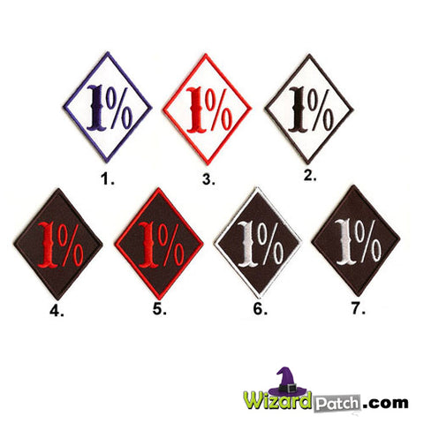 1 PERCENT EMBROIDERED BADGES IFC font biker diamond patch IRON ON OR SEW ON APPLICATION TO YOUR VEST
