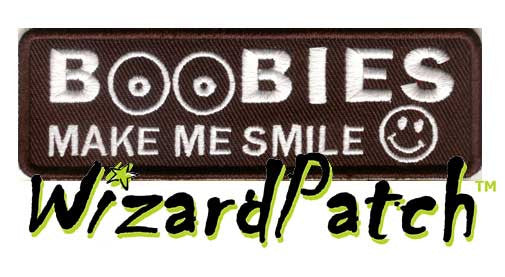 "BOOBIES MAKE ME SMILE Funny biker tag patch 4"" wide"
