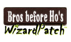 "BRO'S BEFORE HO'S Funny biker tag patch 4"" wide"
