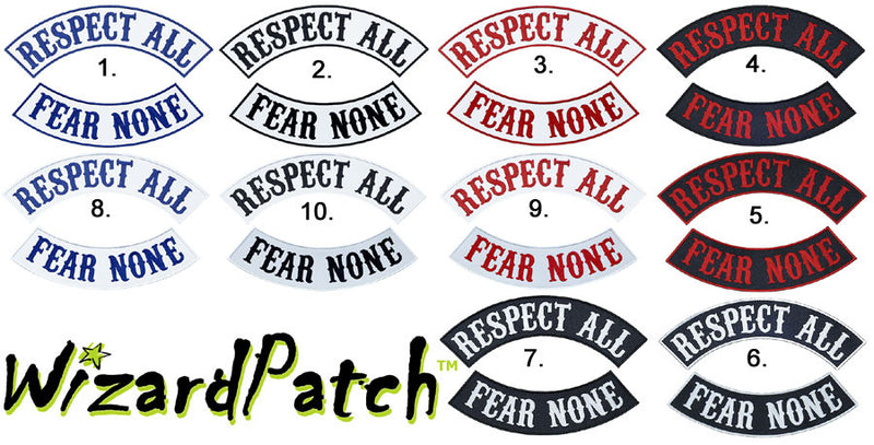 RESPECT ALL FEAR NONE ROCKER SET BEST EMBROIDERY GUARANTEED