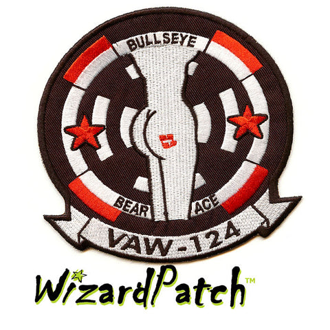 BULLSEYE VAW - 124, WOLFPACK, USN NAVY, TOP GUN ORIGINAL MOVIE JACKET PATCH, G1 FLIGHT JACKET USN PATCH, TOM CRUISE,