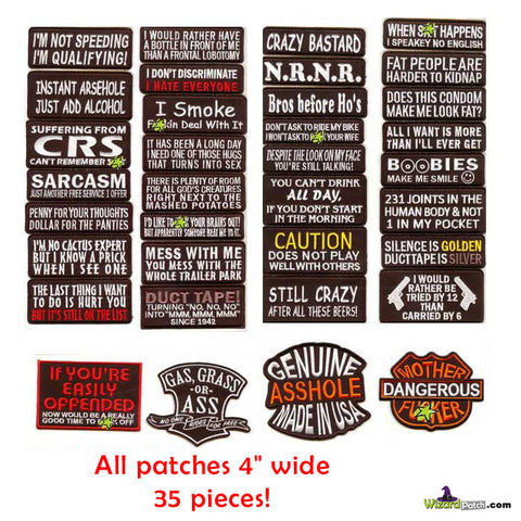 "MC BIKER TAG 35PC LOT ALL 4"" WIDE, BUY IN BULK AND SAVE"