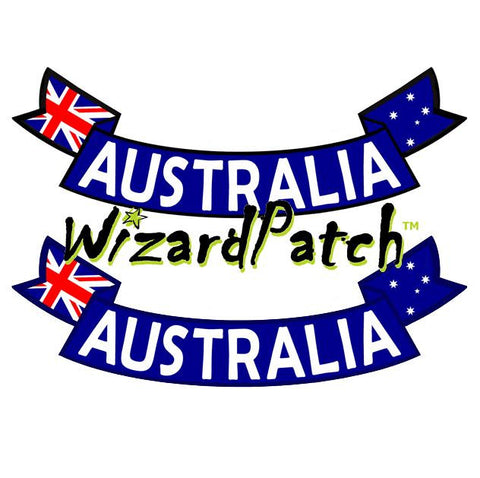 AUSTRALIAN FLAG SCROLL ROCKER PATCH, DESIGNED IN AUSTRALIA, BEST EMBROIDERY GUARANTEED