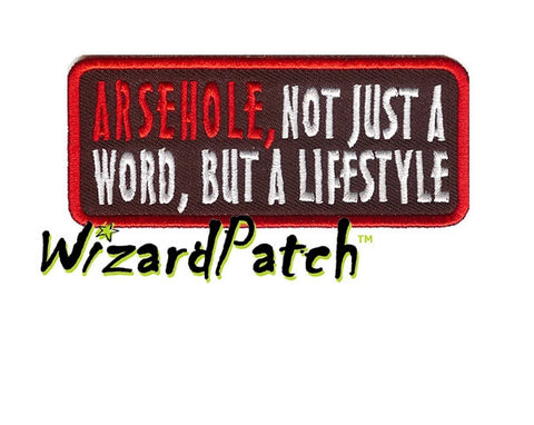 ARSEHOLE FUNNY BIKER PATCH 4""