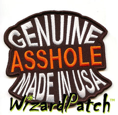 "GENUINE ASSHOLE 4"" Biker Tag Funny biker tag patch 4 inch wide"