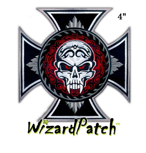 "EVIL SKULL IRON CROSS 4"" PATCH"