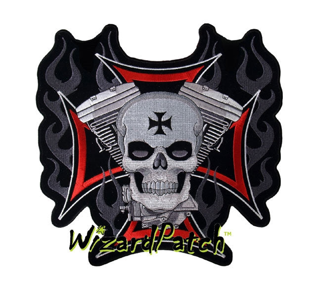 "V-TWIN SKULL IRON CROSS 4"" PATCH"