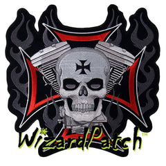 V-TWIN SKULL IRON CROSS LARGE BACK PATCH