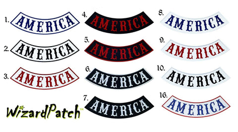 AMERICA BOTTOM BIKER MC ROCKER 12 INCH WIDE BEST EMBROIDERY GUARANTEED