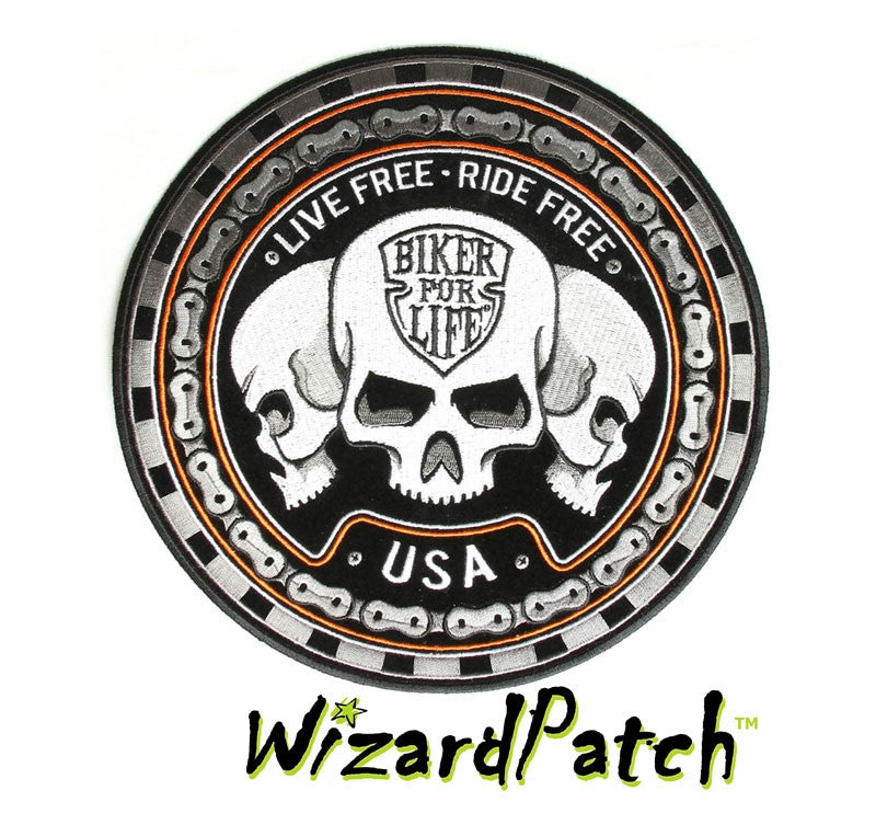 LIVE FREE RIDE FREE BIKER FOR LIFE USA DISC PATCH