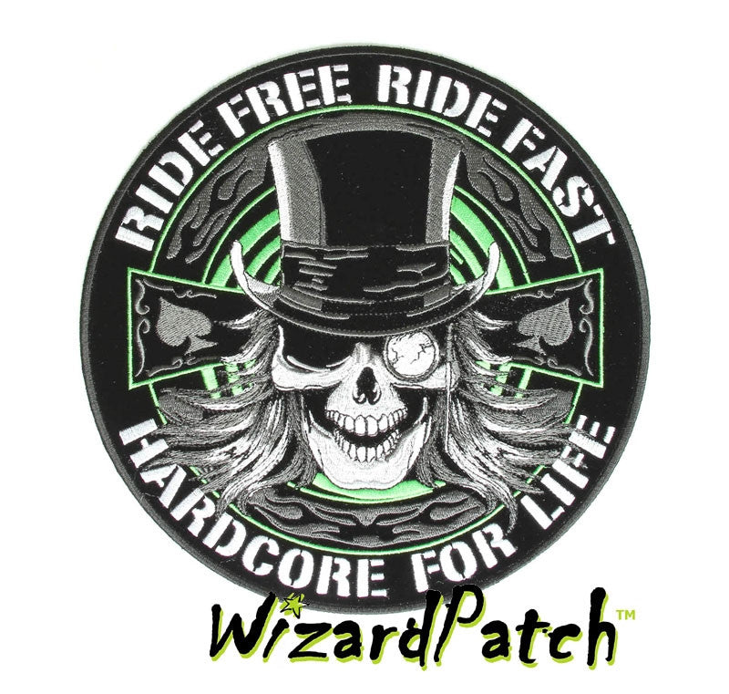 RIDE FREE RIDE FAST HARDCORE BIKER DISC PATCH
