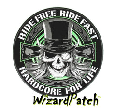 RIDE FREE RIDE FAST HARDCORE BIKER LARGE 4inch DISC PATCH