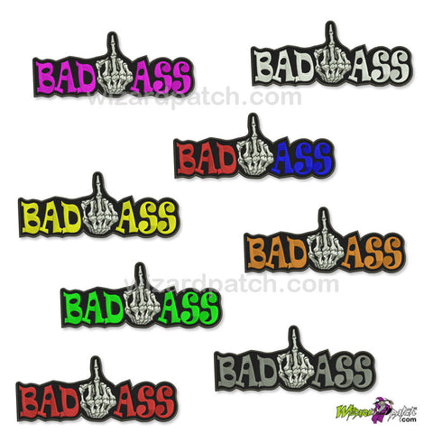 BAD ASS FINGER 10 INCH WIDE wizard embroidered patch best quality MANY COLOURS