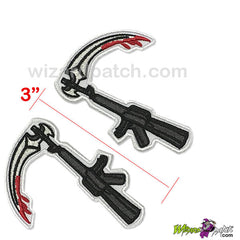 BEST EMBROIDERY GUARANTEED AK-47 SICKLE COLLAR PATCHES SOA