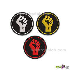 BLACK LIVES MATTER FIST EMBROIDERED DISC BADGE SUPPORT PATCH MOVEMENT EQUALITY RESPECT
