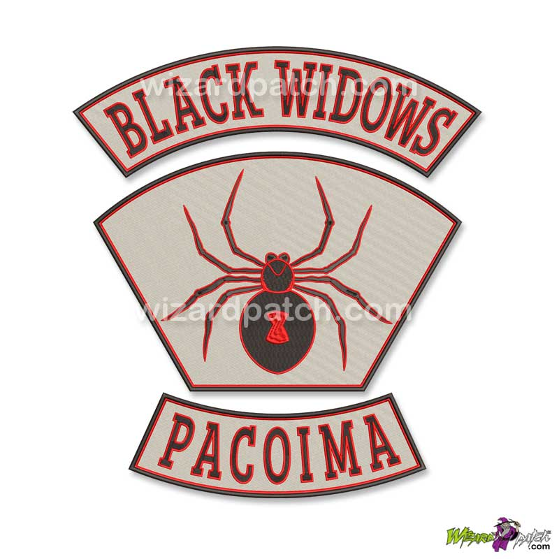 BLACK WIDOWS EMBROIDERED BADGE PATCH BIKER MOVIE PACOIMA EVERY WHICH WAY BUT LOOSE FUNNY VEST EMBROIDERY 3 PIECE SET
