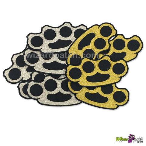 BRASS AND STEEL KNUCKLES KNUCKLE PATCH IRON OR SEW ON EMBROIDERED BADGE 4 INCH SET