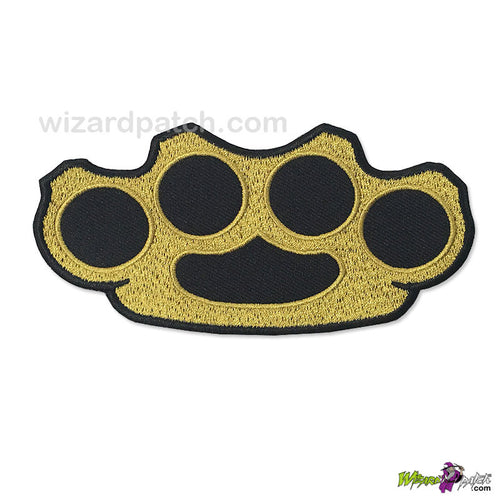 BRASS AND STEEL KNUCKLES IRON OR SEW ON EMBROIDERED PATCH 4 INCH