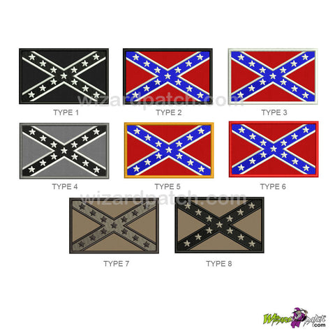 CONFEDERATE flag embroidered patch many choice of colors wizard patch