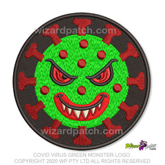 COVID-19 GREEN MONSTER VIRUS CELL EMBROIDERED DISC PATCH LOGO BADGE CORONAVIRUS MEANY