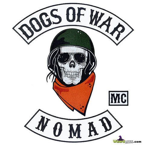 DOGS OF WAR MC BIKER PATCH SET BY WIZARD PATCH
