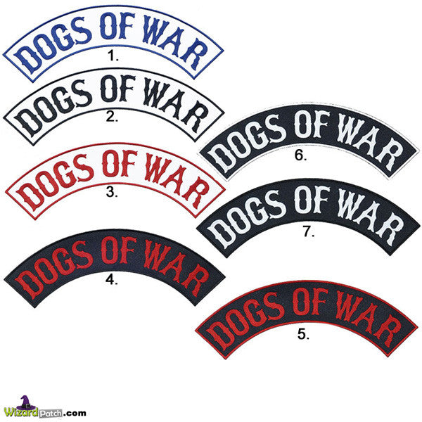 DOGS OF WAR MC BIKER ROCKERS BY WIZARD PATCH, CHOOSE YOUR COLOUR
