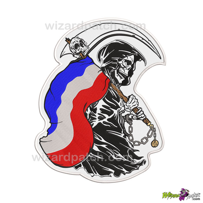 FRENCH REBEL REAPER EMBROIDERED BADGE PATCH FLAG HOLDING COUNTRY OF YOUR CHOICE FRANCE