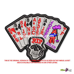FULL CUSTOM CHOOSE YOUR TEXT HARLEY DAVIDSON AND THE MARLBORO MAN JOKER DEAD MANS HAND BADGE EMBROIDERED BIKER HDMM MOVIE PATCH