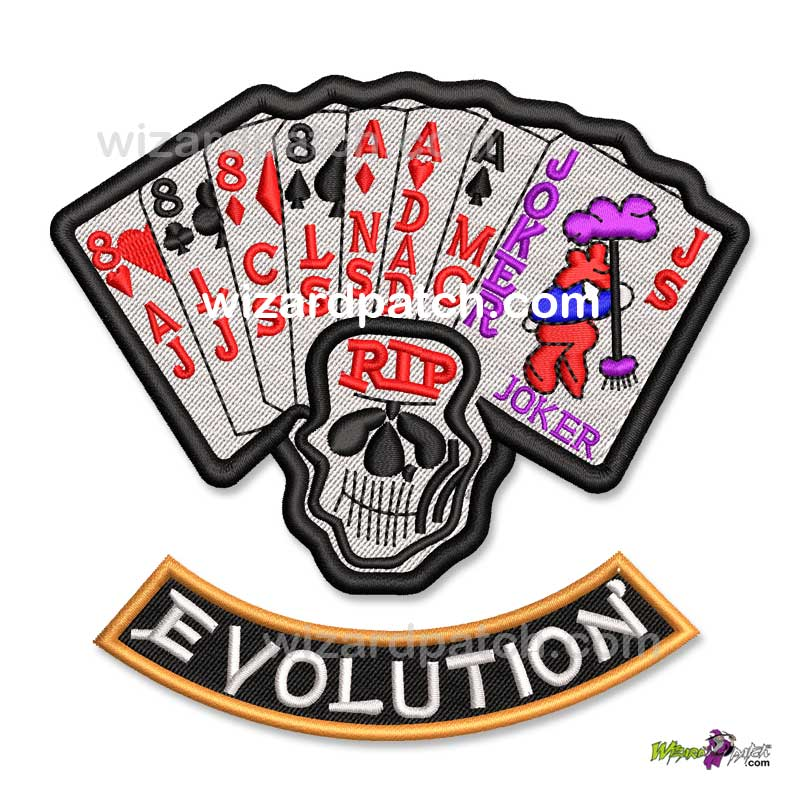 HARLEY DAVIDSON AND THE MARLBORO MAN JOKER DEAD MANS HAND EVOLUTION SET BADGE EMBROIDERED BIKER HDMM MOVIE PATCH ORIGINAL