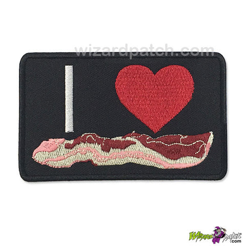 I LOVE BACON FUNNY EMBROIDERED IRON ON BADGE WIZARD PATCH