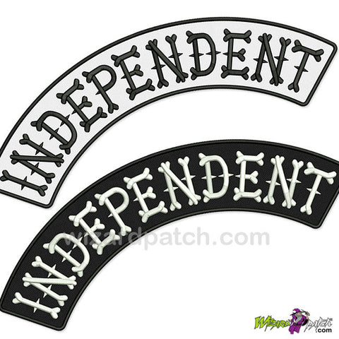 INDEPENDENT EMBROIDERED BIKER ROCKER PATCH HIGH QUALITY STITCHING BIKER BONES LETTERING