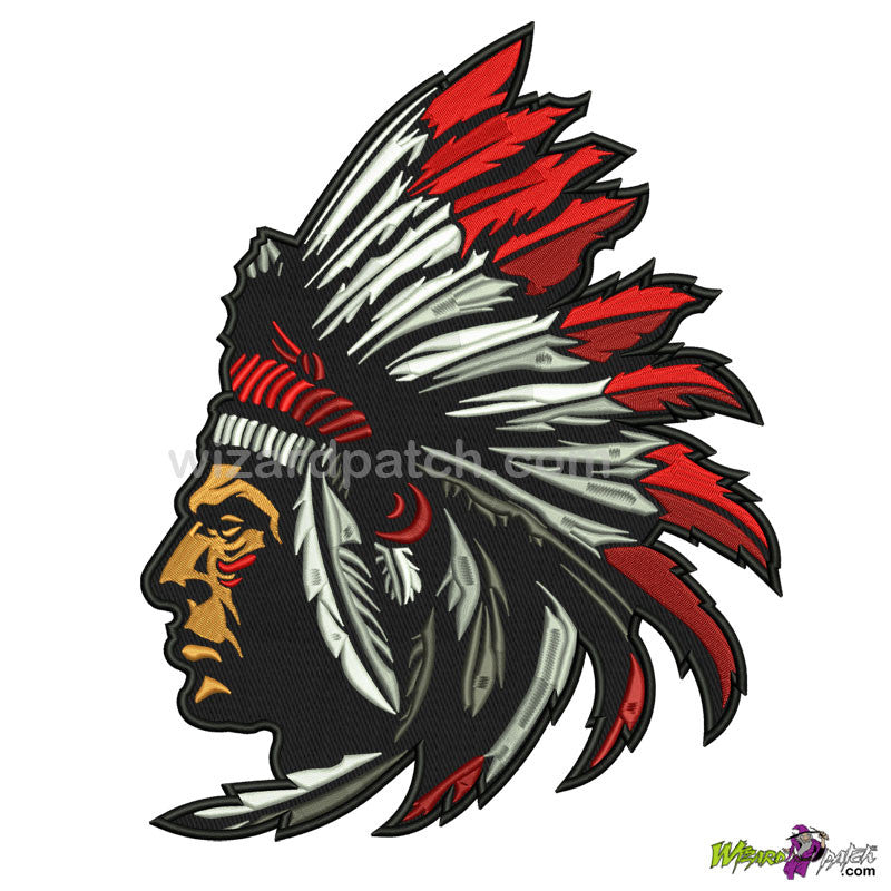INDIAN CHIEF WARRIOR EMBROIDERED BACK PATCH BADGE HEADRESS LARGE 10X8 INCH