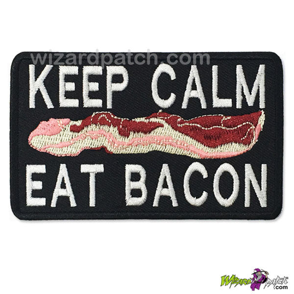 KEEP CALM EAT BACON FUNNY EMBROIDERED WIZARD PATCH IRON ON BADGE