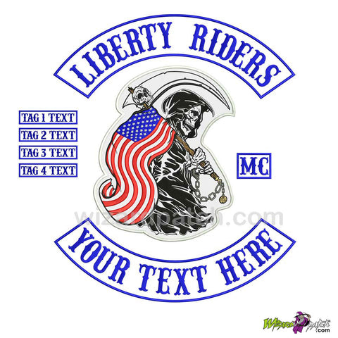 LIBERTY RIDERS WIZARD PATCH EMBROIDERED MOTORCYCLE PATCH SET